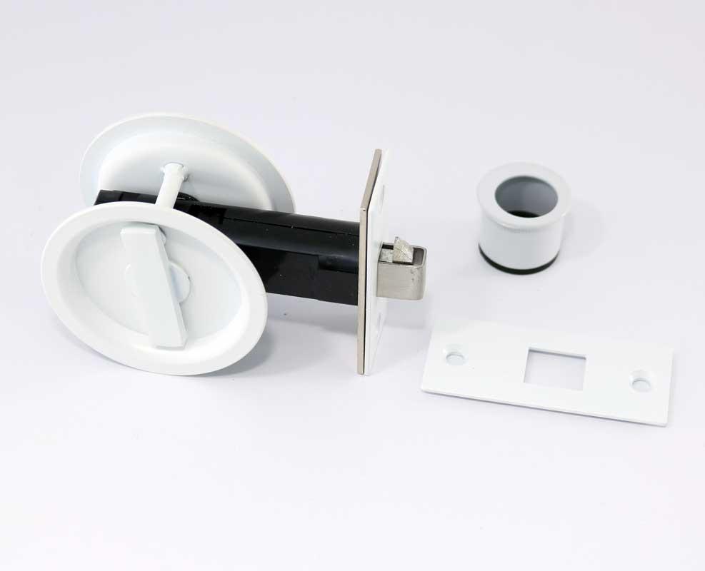 Cavity Slider Lock In Satin White For Locking Pocket