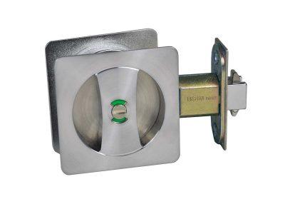 cavity square sliding door lock matte brushed nickel