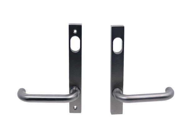 Narrow Long Plate Set - Key Outside | Egress Inside - Gunmetal