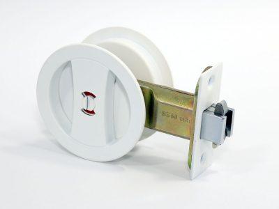 Cavity Sliding Door Lock | Round | Privacy | Satin White