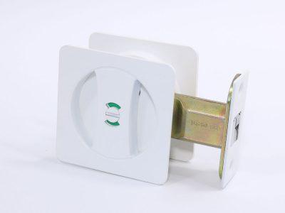 Cavity Sliding Door Lock | Square | Privacy | Satin White