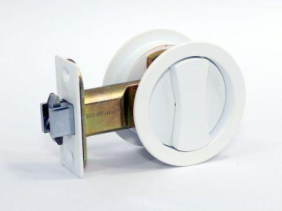 Cavity Sliding Door Lock | Round | Single Cylinder | Satin White