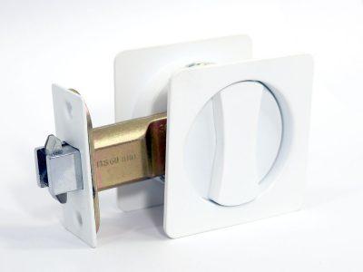 Cavity Sliding Door Lock | Square | Single Cylinder | Satin White